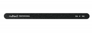 RuNail Пилка для искусственных ногтей 100/180 грит тонкая, чёрная, закругленная