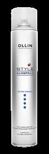 OLLIN Лак для волос экстрасильной фиксации 450мл с нейтр.запахом